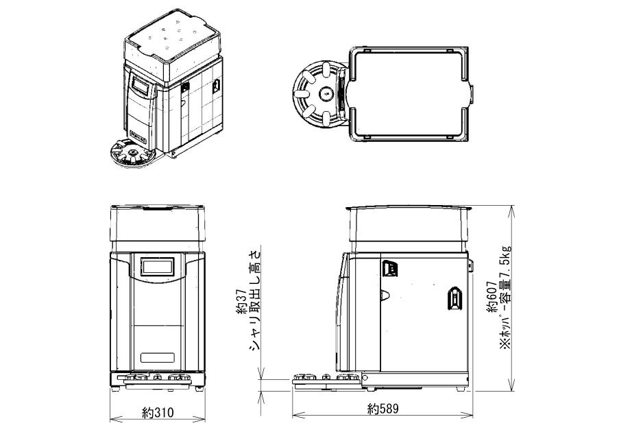 【寿司ロボット】卓上シャリ玉成形機Ⅵ-TSDH-寿司機械レイアウト