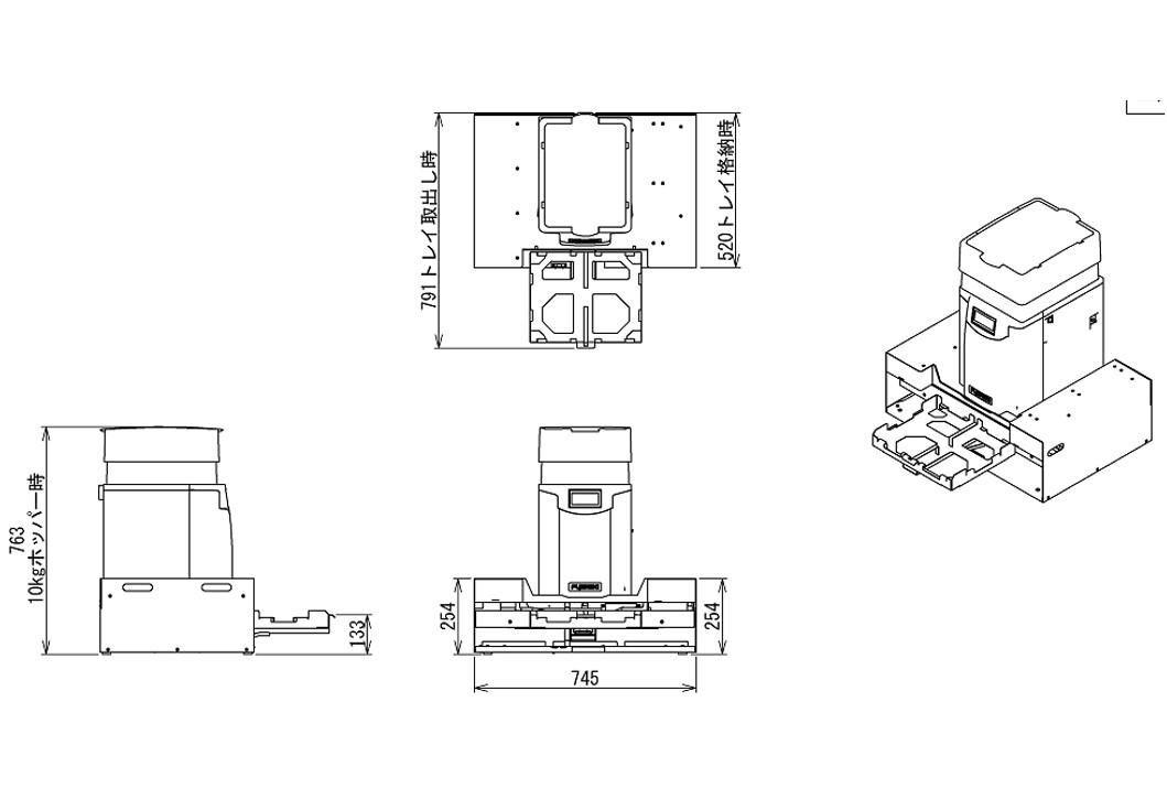 寿司成形ロボットレイアウト|卓上シャリ玉成形機6整列プロタイプ